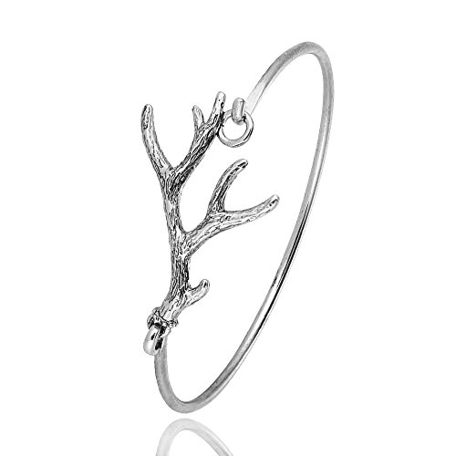 RUXIANG Deer Antlers Vintage Cuff Bangle Bracelet for Women Girls (Ancient Silver) (Ancient Deer)