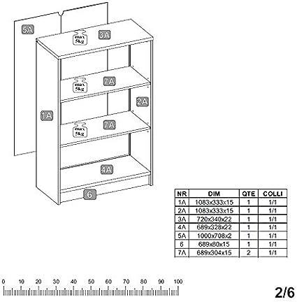 Stella Trading Optimus Scaffale Regal 3 // schmal 2 E-B/öden Bianco Materiale a Base di Legno