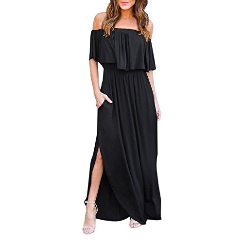 Sherostore ♡ Womens Off The Shoulder Ruffle Party Dress Casual Side Split Beach Long Maxi Dresses with Pockets - Form Small Sas