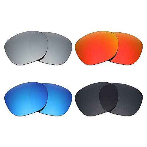 Mryok 4 Pair Polarized Replacement Lenses for Oakley Garage Rock Sunglass - Stealth Black/Fire Red/Ice Blue/Silver ()