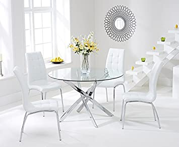 High Quality Texas 110cm Glass Round Dining Table And White Chairs Set