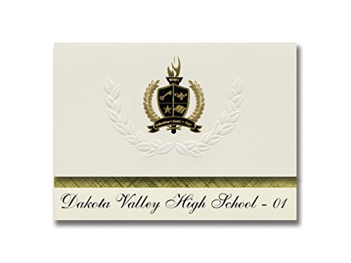 Signature Announcements Dakota Valley High School - 01 (North Sioux City, SD) Graduation Announcements, Presidential Elite Pack 25 with Gold & Black Metallic Foil seal -