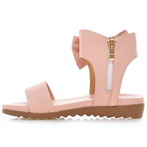 Flats Zip Sweet Sandals Pink Solid Women's Bow LongFengMa Shoes 1w4Bnfq6x