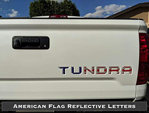 BDTrims | Tailgate Letters for Toyota Tundra 2014-2019 Plastic Inserts (American Flag Reflective)