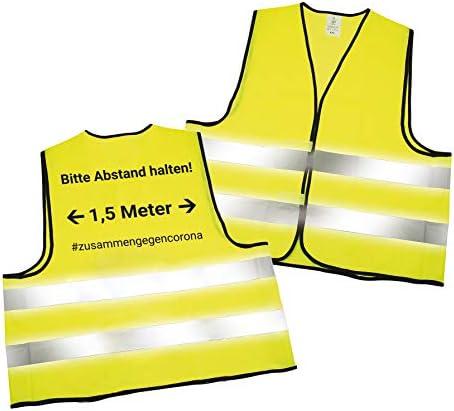 Warnweste mit Abstandswarnung - Bitte Abstand halten 1,5m - und Reflektorstreifen nach EN ISO 20471 Zertifiziert Sicherheitsweste Gelb mit Klettverschluss Einheitsgröße XXL (1x Gelb)