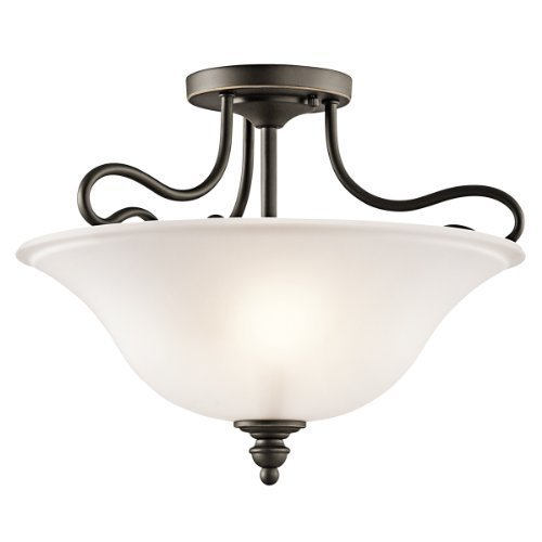 Kichler Lighting 42900OZ Tanglewood 2-Light Semi-Flush, Bronze Finish with Satin Etched Glass by Kichler Lighting by Kichler Lighting