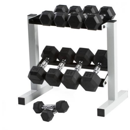 CAP 150 lb Rubber Hex Dumbbell Weight Set, 5-25 lb with Rack by Generic