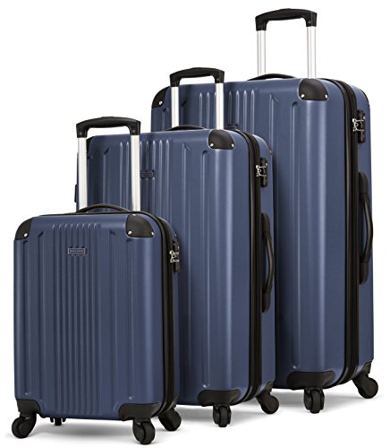 TravelCross Milano Luggage Expandable Lightweight Spinner Set - Dark Blue, 3 piece (20''/ 24''/ 28'')