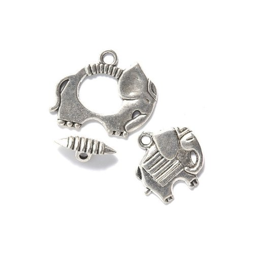UPC 886883039425, Shipwreck Beads Zinc Alloy Toggle Clasp with Charm, Elephant, 25mm, Silver, 15-Pack