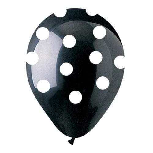 CTI latex balloons 950069 ALL-ROUND BLACK W//WHITE POLKA DOTS 12,