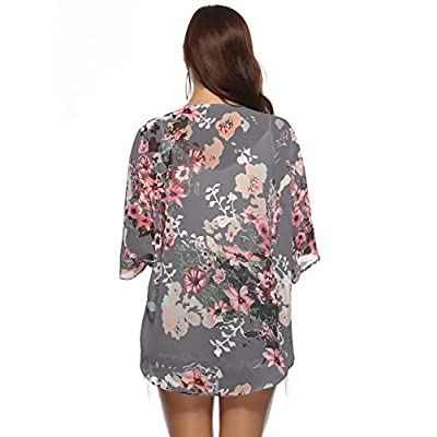 Women Floral Kimono Cardigan Chiffon Casual Loose Open Front Cover Up Tops at Women's Clothing store