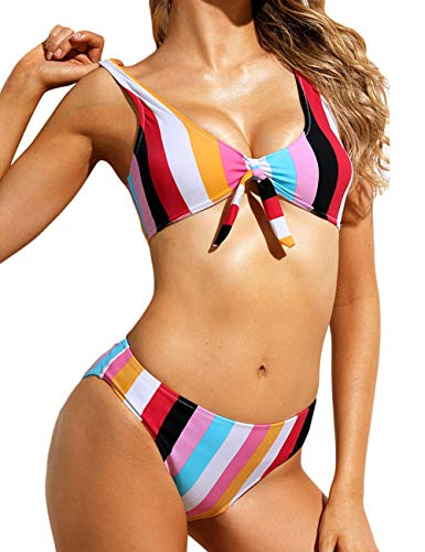 (Honlyps Two Piece High Waisted Bathing Suit Striped Bikini Set Swimsuits for Women High Cut Sports Suits)