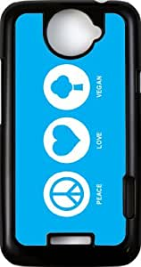Rikki KnightTM Peace Love Vegan Sky Blue - Black HTC ONE X Case Cover for HTC ONE X