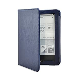 "Fashion Smart Flip Case Pu Leather Cover for Tolino Vision 6"" Ebook Reader (Deep Blue)"