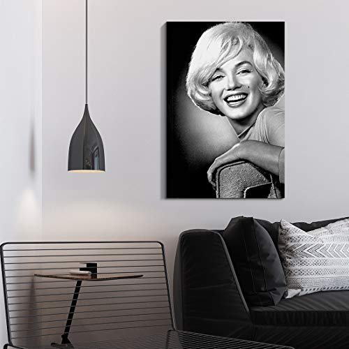"Denozer - Marilyn Monroe Canvas Wall Art Print Black and White Wall Art Home Decor Retro Vintage Design Gallery Stretched and Framed Ready to Hang - 24"" x 36"""