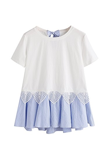 Floerns Women' Short Sleeve Summer T Shirt Peplum Top White M (Peplum Bow)