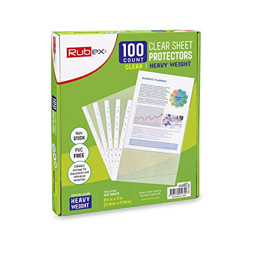 100 Heavyweight Sheet Protectors, Holds 8.5 x 11 inch Sheets, 9.25 x 11.25 inch Top Loading, Clear, Reinforced 11-Hole, Acid-Free, Archival Safe for Documents and Photos, Box of 100