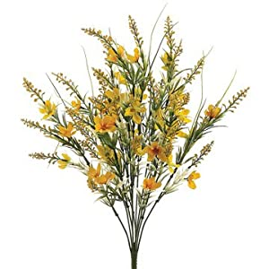 22″ Silk Cosmos & Astilbe Flower Bush -Yellow (Pack of 12)