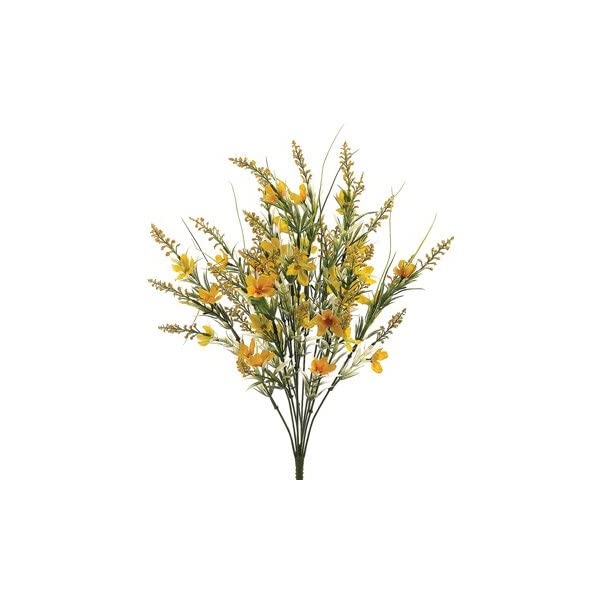 22″ Silk Cosmos & Astilbe Flower Bush -Yellow (Pack of 12)