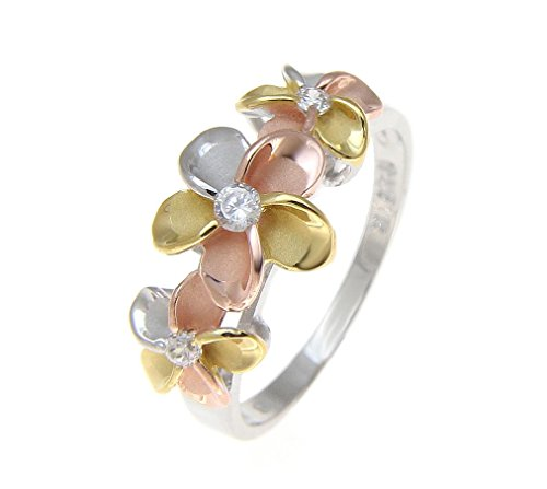 925 sterling silver Hawaiian yellow pink rose gold rhodium tricolor plated 3 plumeria flower cz ring size 6.5