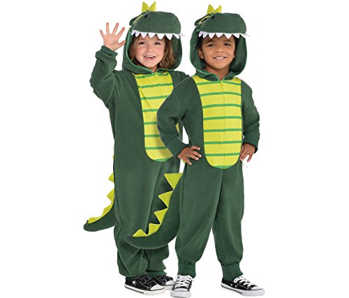 AMSCAN Zipster Dinosaur One Piece Halloween Costume for Toddlers, 3-4T, with Attached Hood and Tail