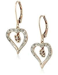 10k Rose Gold Diamond Heart Earrings (1/10 cttw, I-J Color, I2-I3 Clarity)