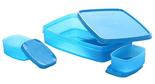 Signoraware Compact Lunch Box Set, 850 ml, 3-Pieces, T Blue Price & Reviews