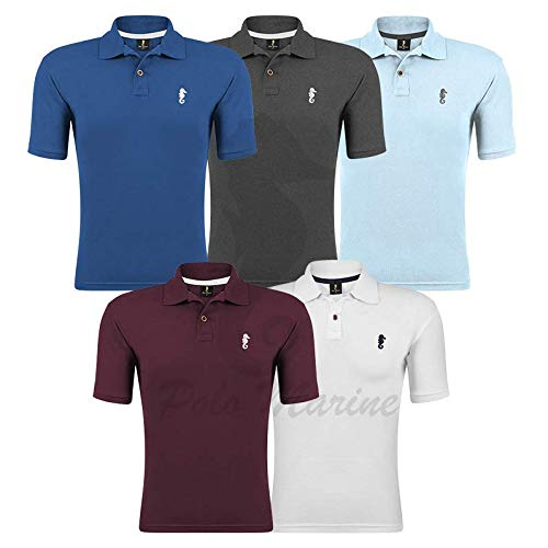 Kit 05 Camisetas Gola Polo - Polo Marine (Kit 02, G)
