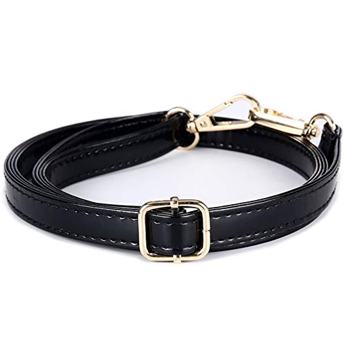 73cc1aa9ae5e 58inch Black Adjustable PU Leather Strap Wide 1.5cm with Golden Hardware  Women Purse Bag Handles Shoulder Straps Replacement (B-Type)