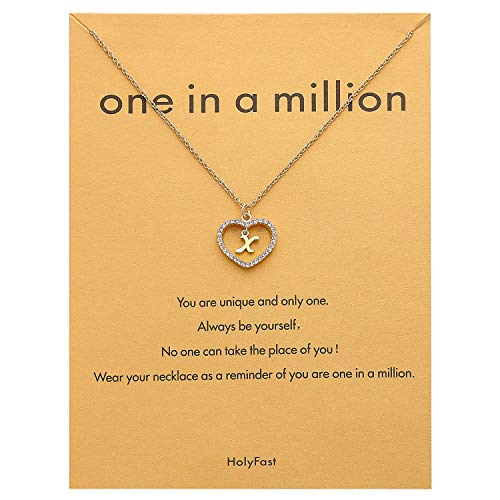 HolyFast Charm Necklace Message Card One in A Million Letter X Necklace Initial Necklace Heart Love Necklace CZ Cubic Zirconia Pendant Love Necklace Woman Jewelry