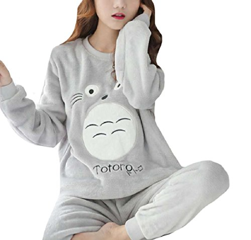 Tootless-Women Warm Cute Flannel Cartoon Fall Winter Fleece Long-Sleeve Thick Pajama/Sleepwear Set