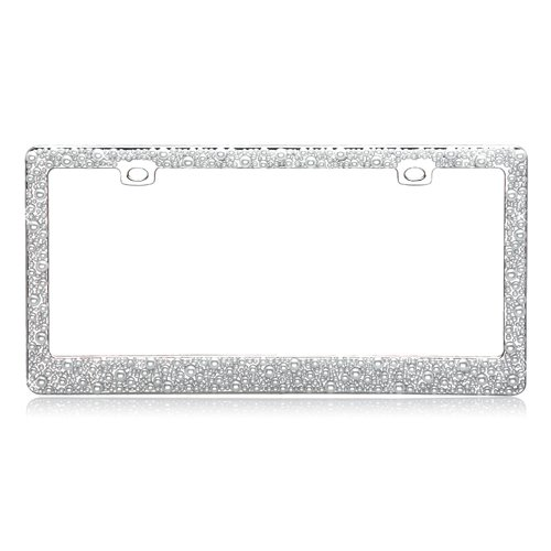 Fully Encrusted in Multiple Sized Pearls Over Chrome Metal Frame - Sized Frame