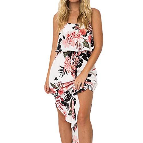 resses, Summer Sleeveless Spaghetti Strap Ladies Elastic Waist Fashion Print Hobo Vintage Flare Dress White ()