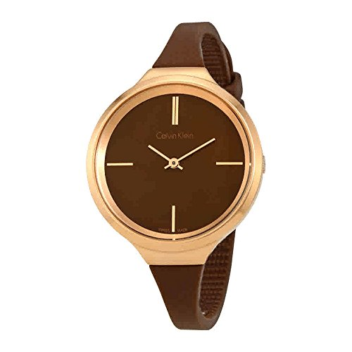 Calvin Klein K4U236FK Ladies Lively Brown Silicone Strap Watch by Calvin Klein