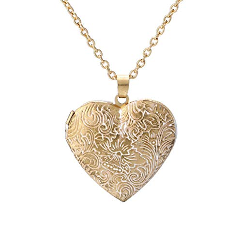 WPOtee Retro Heart-Shaped Necklace Pendant Locket Mini Photo Frame Box Pendants Long Necklace for Women Charm Ideal Gift for Valentine's Day (Gold) from WPOtee