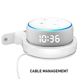 Delidigi Echo Dot Wall Mount ABS Bracket Holder Shelf Accessories [Built-in Cable Management] for Echo Dot 3rd Generation, Google Nest WiFi Router (White)