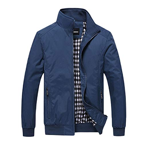 Plus Colour Coat Trench Size Autumn Classic Beeatree Pure Men Blue Jacket OqUWIzwP