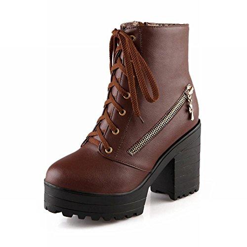 Latasa Womens Charm Ankle - Stivali Alti Martin Con Tacco Alto Con Tacco Alto, Decorazione Con Cerniere, Marrone
