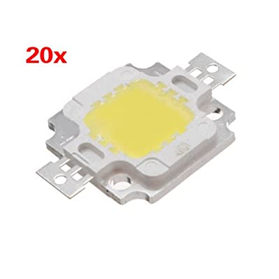SODIAL(R) 20PCS 10W LED Pure White High Power 1100LM LED Lamp SMD Chip light Bulb DC 9-12V