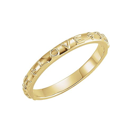 14K Yellow Gold True Love Chastity Ring with Packaging Size 6