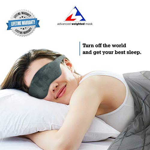 Advanced Weighted Sleep Mask with Adjustable Head Strap - Double-Sided Light-Proof Weighted Sleeping Mask - Induce Faster and Deeper Sleep - Comfortable Design - Perfect for Anxiety & Insomnia (Gray)