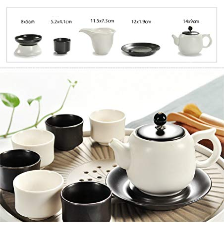 Chuangrong Vintage Chinese & Japanese Style Porcelain Handmade White and Black Kung Fu Tea Set, 13-Pack by Chuangrong (Image #1)