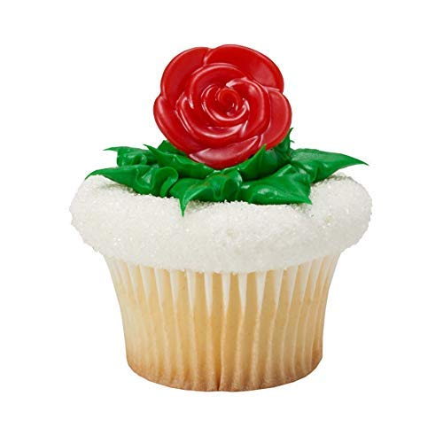 Pack of 24 Red Rose Cupcake Topper Rings Belle Beauty and the Beast ()