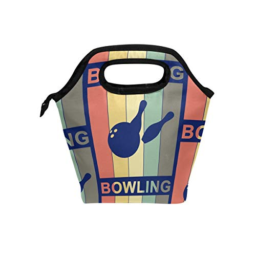 (Lunch Tote Bag with Bowling Bowlers Print- Insulated Reusable Lunch Box, BaLin Thermal Colder Lunchbox for School Work Office)