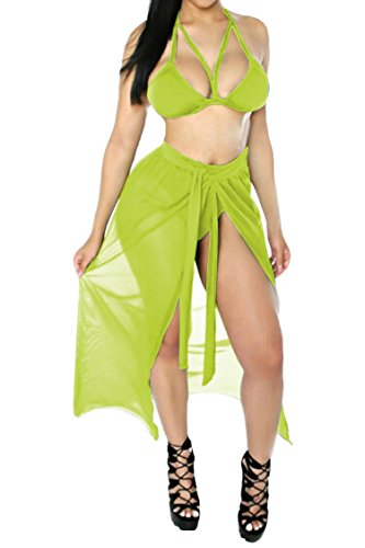 Kisscy Women's Halter Neck Cut Out Swimwear with Mesh Maxi Skirt Light Green L