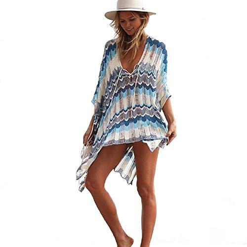 NFASHIONSO Women's Fashion Swimwear Crochet Tunic Cover Up/Beach Dres,Multicolor Blue