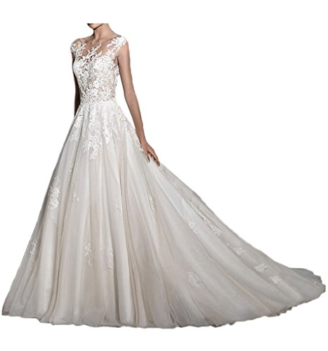 MILANO BRIDE 2017 New Illusion-Neck Ball Gown Backless Applique Wedding Dresses-10-Light Ivory