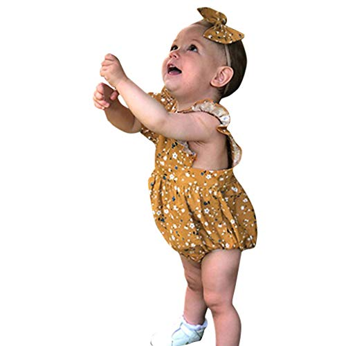 NUWFOR Infant Baby Girls Floral Print Jumpsuit Romper Bodysuit+Headband Outfits Sets?Yellow,6-12Months?