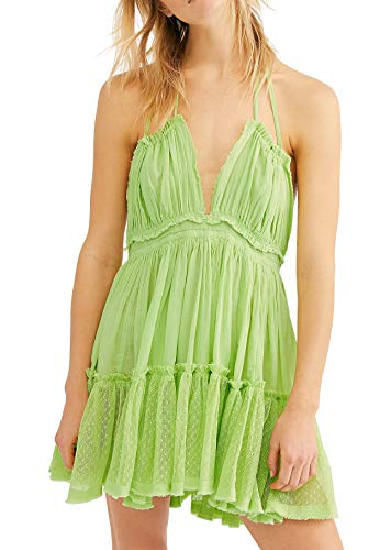 R.Vivimos Womens Summer Halter Deep V Neck Sexy Patchwork Mini Short Dresses (Medium, Lime)