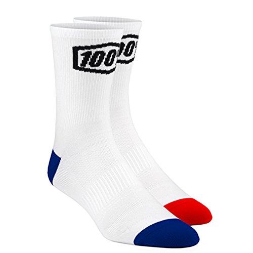 100% Terrain Men's MX Motorcycle Socks - White / Small/Medium